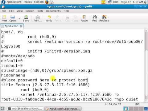 Linux: Set a GRUB 1 Password