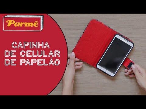 DIY CAPINHA DE CELULAR de PAPELÃO reciclando caixa de pizza