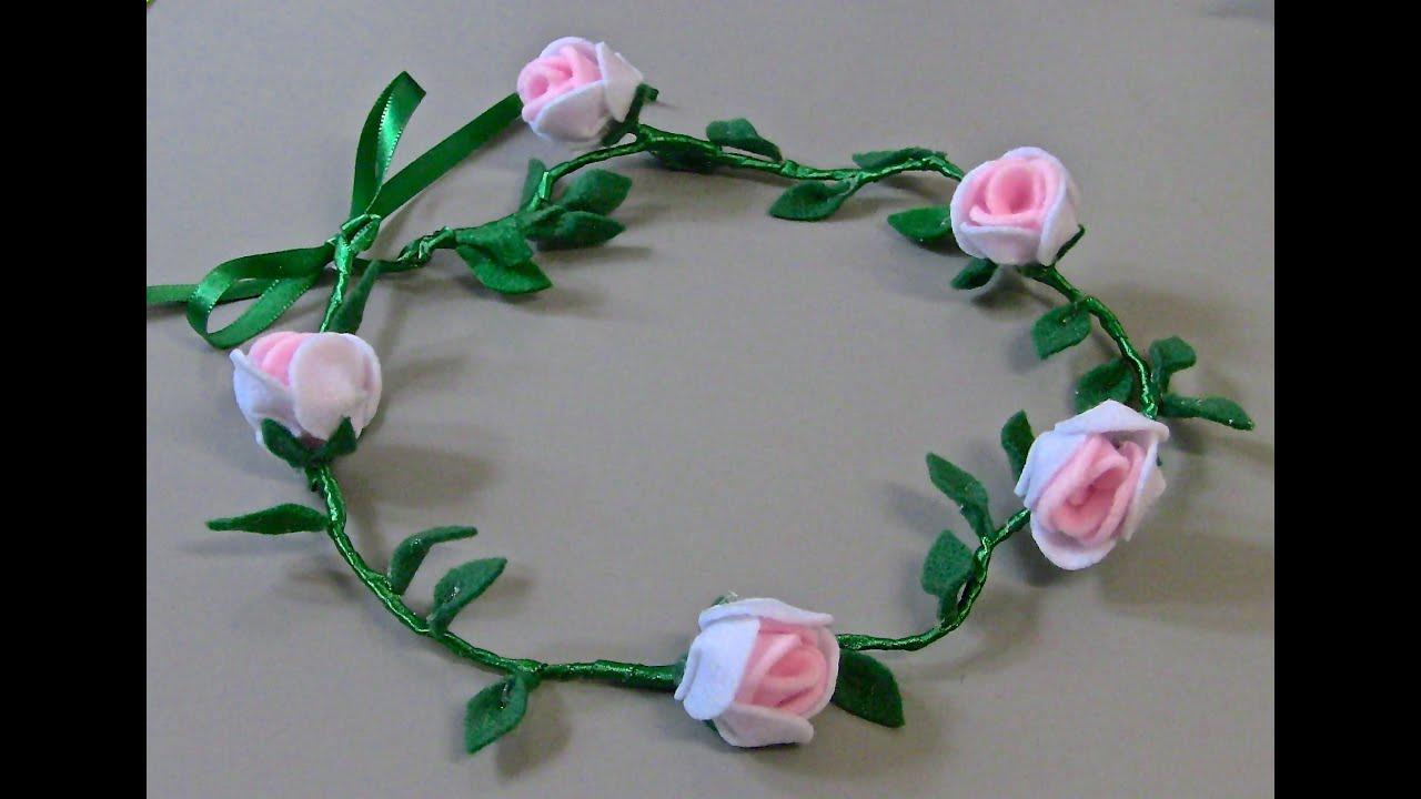 Well-known Como fazer Coroa de flores fácil - Fabric flower tutorial - YouTube VL22