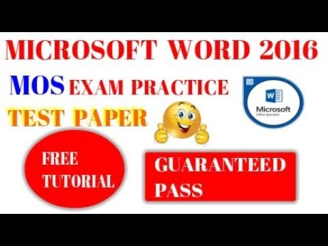 MOS Word 2016 - MOS Exam Certification - Microsoft Office Specialist ...
