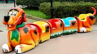 Kids Train and Cars in Amusement Park. Wheels on the bus basic song with UT kids