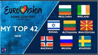 Eurovision 2018 - My Top 42 So Far (new #Mac #Rus #Isr #Swe #Bul #Irl #Lit #Nor)