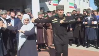 Chechen leader Kadyrov dances after voting at national & regional elections