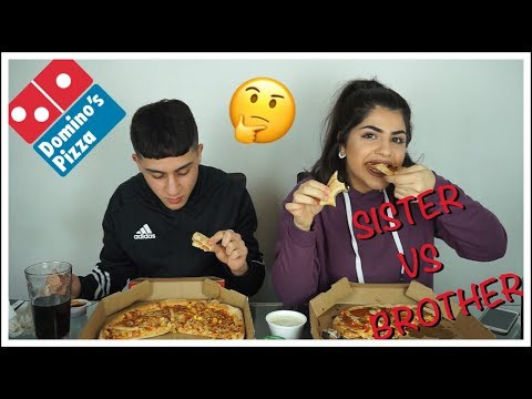 DOMINO'S PIZZA CHALLENGE VS MY BROTHER! WHO WINS??!!