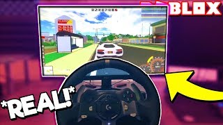 USING A RACING WHEEL to DRIVE in ROBLOX! *WORKING* (Ultimate Driving with Racing Wheel)
