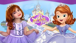 Sofia The First Kids Makeup Disney Princess Play with Toy & DRESS UP in Real Princess Dress
