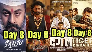 Sanju 8th Day Vs Baahubali 2 Vs Dangal Vs Tiger Zinda Hai Box Office Collection | Who Wins?