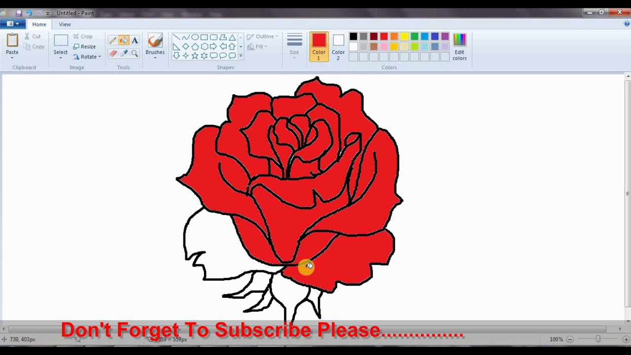 How To Draw Rose Flower In Ms Paint And How To Color Very Easy Steps For Kids Youtube