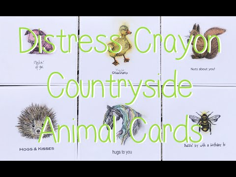 Tim Holtz Distress Crayons Countryside Animals Stamped Cards