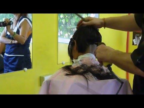 Girl barbershop extreme short haircut