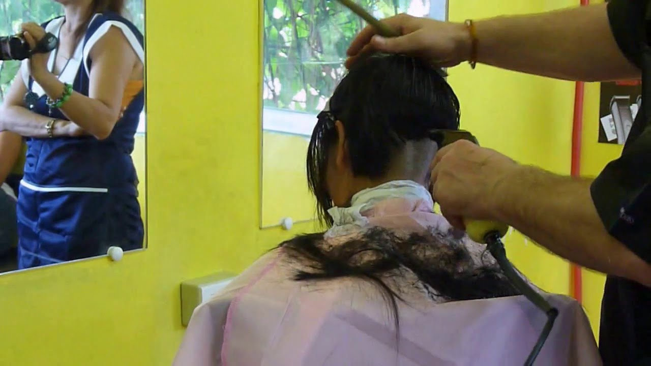 Girl barbershop extreme short haircut