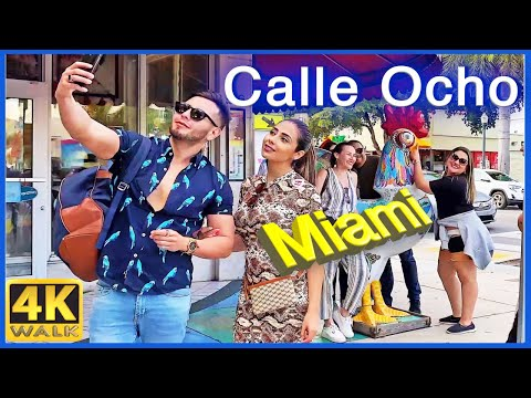 4k WALK Calle 8 MIAMI Florida CUBA in USA slow tv TRAVEL VLOG