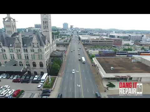 Drone video map from Broadway to Dang It Repair Nashville