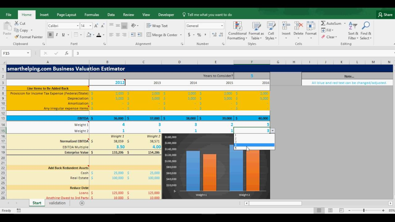 Business Valuation: EBITDA Multiple With Excel