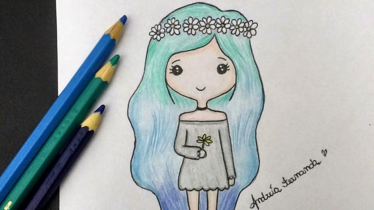 Desenhos Tumblr De Mão Estalando Como Fazer: Como Desenhar Bonequinha Tumblr Com Coroa De Flores