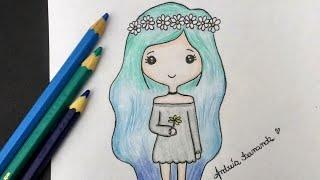 Como desenhar Bonequinha Tumblr com Coroa de Flores