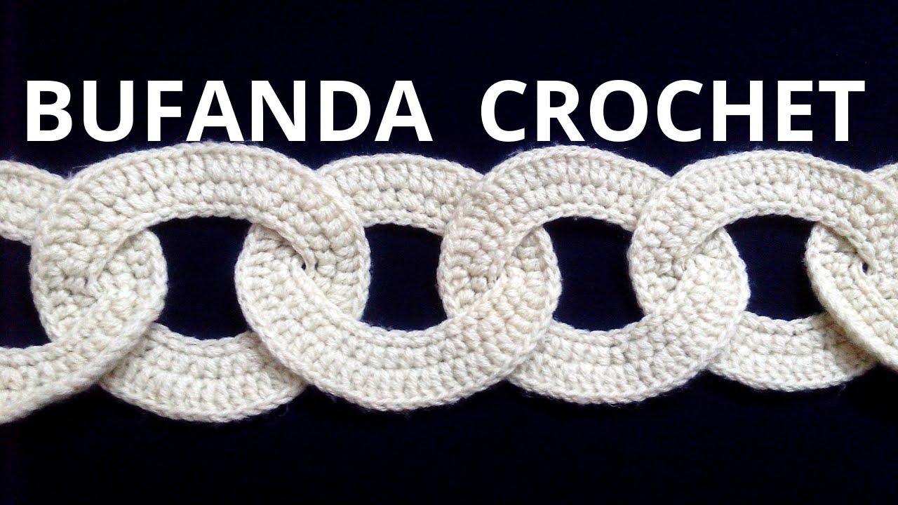 BUFANDA con motivos circulares en tejido #crochet o ganchillo ...