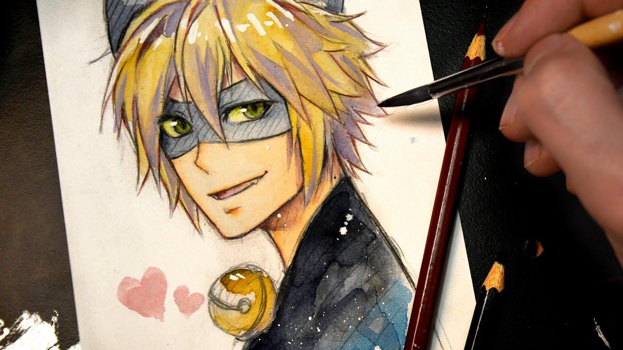 Cartoon Boy And Girl Sad Wallpaper Cat Noir Miraculous Ladybug 【watercolor Sketch Speedpaint