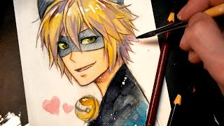 Cat Noir (Miraculous Ladybug)【WATERCOLOR SKETCH SPEEDPAINT】