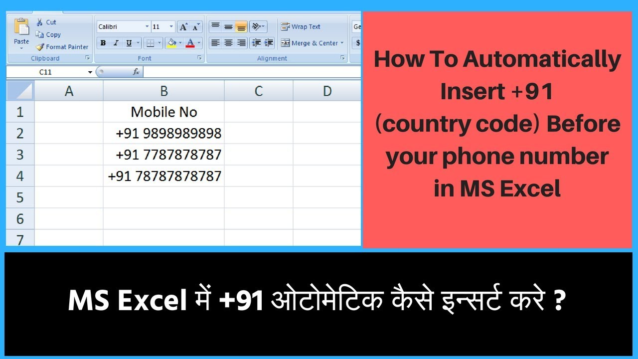 Excel Phone Number Format with Country Code || Add Area codes to phone  number in MS Excel