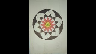 Geometric Design Drawing Flower//How to draw Flower In circle//Rangoli