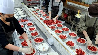 Full of strawberries! Amazing Strawberry Cake Mass Production Process - Korean Street Food