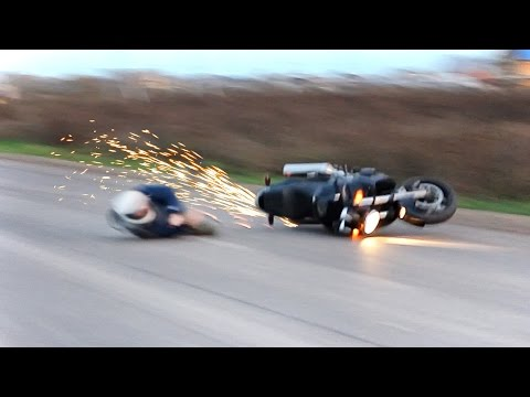 Жесткое падение на мотоцикле - неудачное вилли
