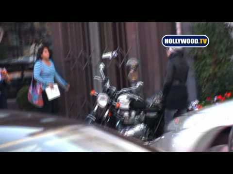 Pink Drives Her Custom Triumph Motorcycle
