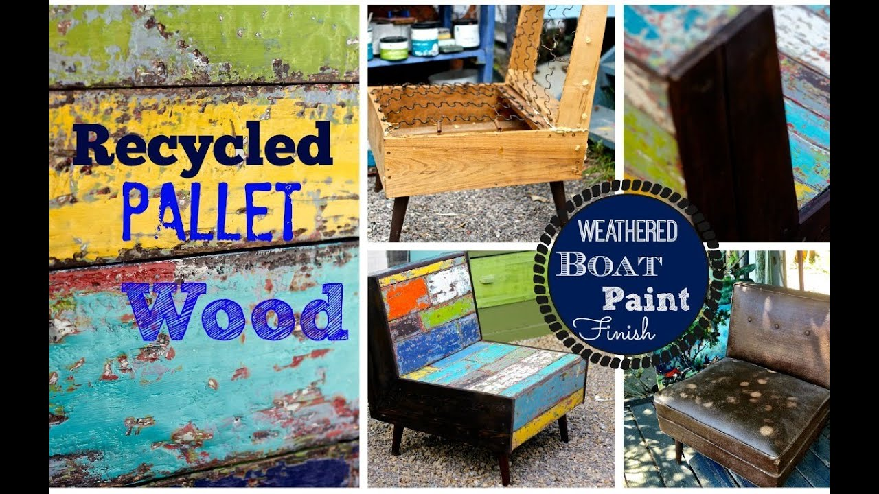 How to layer paint, distress & build a pallet wood chair - YouTube