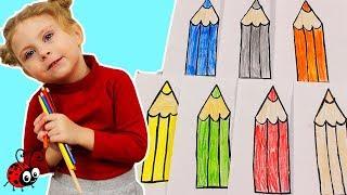 Surprize in Baloane Lungi   Invatam Culorile cu Creioanele Colorate   Video Educativ