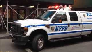 NYPD ESU TRUCK RESPONDING ON WEST 42ND STREET IN THE MIDTOWN AREA OF MANHATTAN IN NEW YORK CITY.