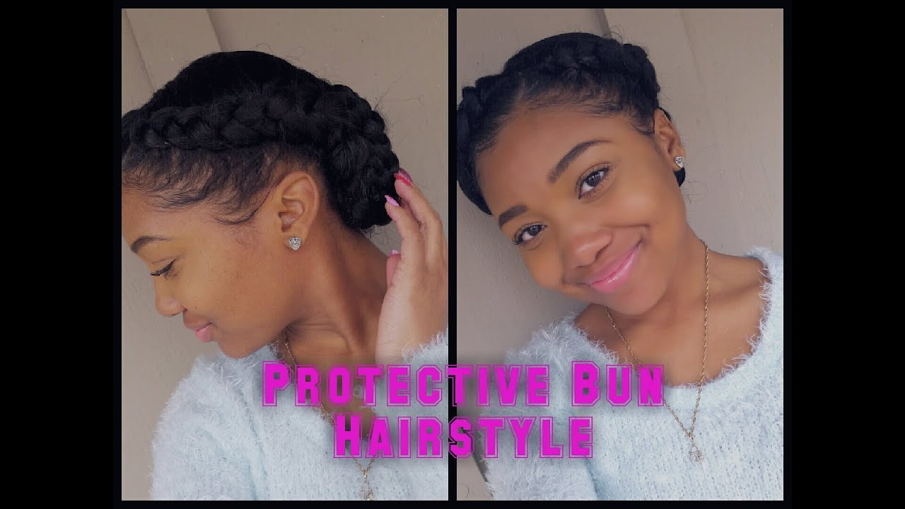 Two Braids into a Low Braided Bun || Protective Hairstyle ...