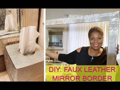 DIY: Faux Leather Mirror Border | Blush, Gold, and Champagne Bathroom Decor | Mooregirl