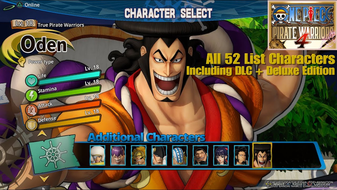 One Piece Pirate Warriors 4 | All 52 Characters List Including DLC \u0026 Deluxe Edition