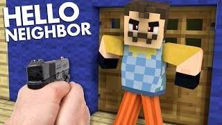 Realistic Minecraft : Hello Neighbor - Secret Hidden GUN!? Shooting Mr. Wilson!