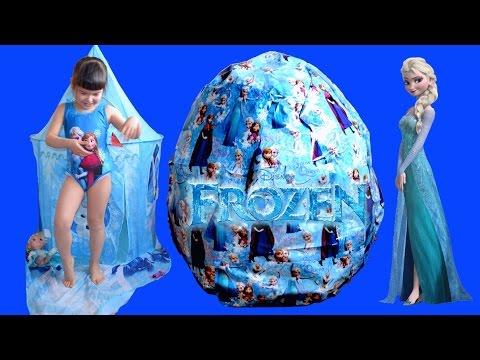 Giant Disney Frozen Surprise Egg - Let It Go Wand + Elsa Anna Dolls Biggest Egg Toys Compilation