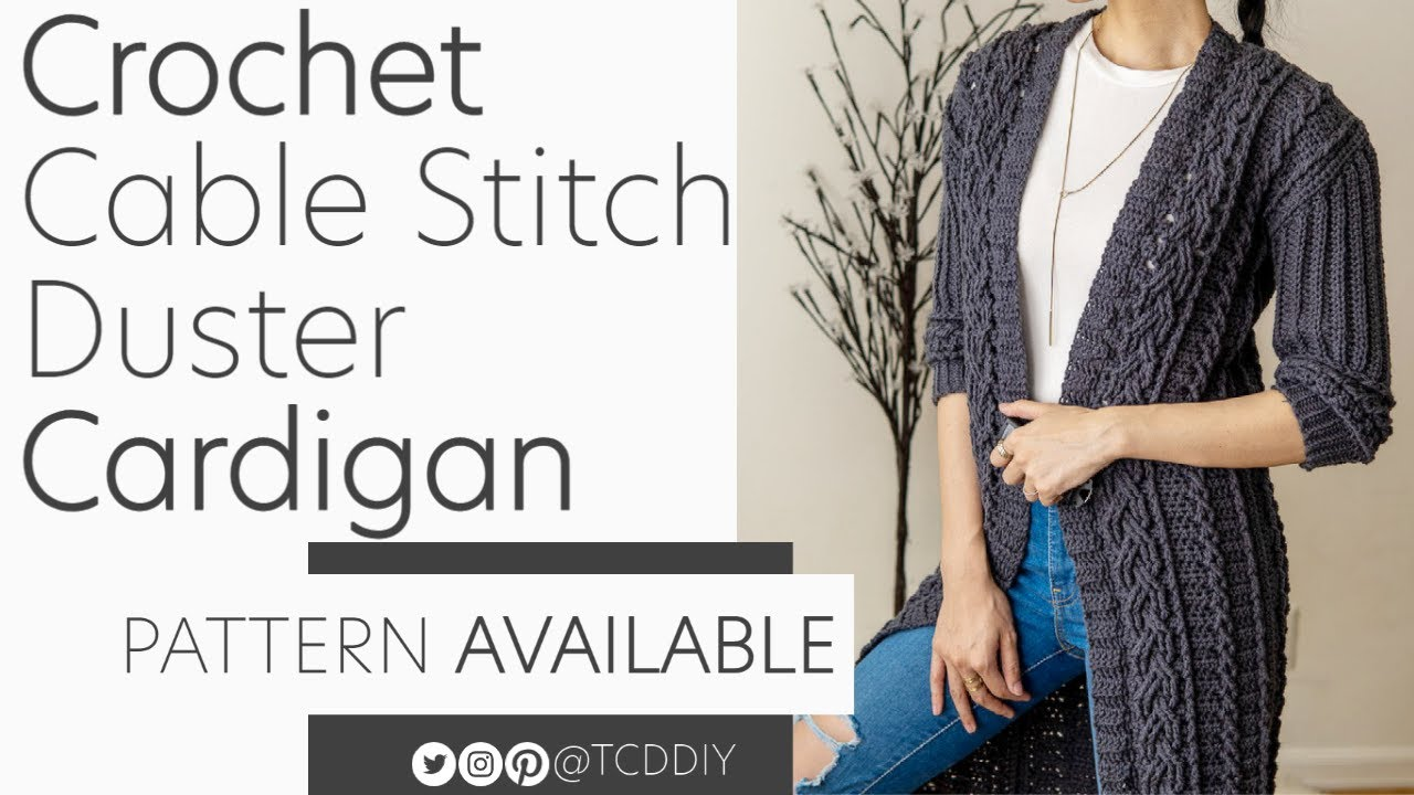 Download Crochet Cable Stitch Duster Cardigan | Pattern & Tutorial DIY