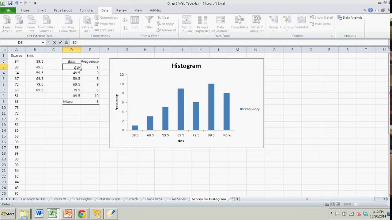 creating a histogram with excel