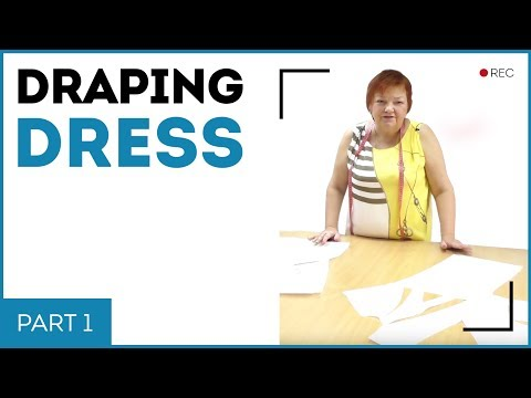 DIY: How to make a pattern for asymmetric dress with draping on the front. Making a knot on a dress.