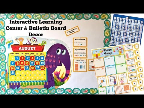 Interactive Learning Center & Bulletin Board Decor with Storage Solutions