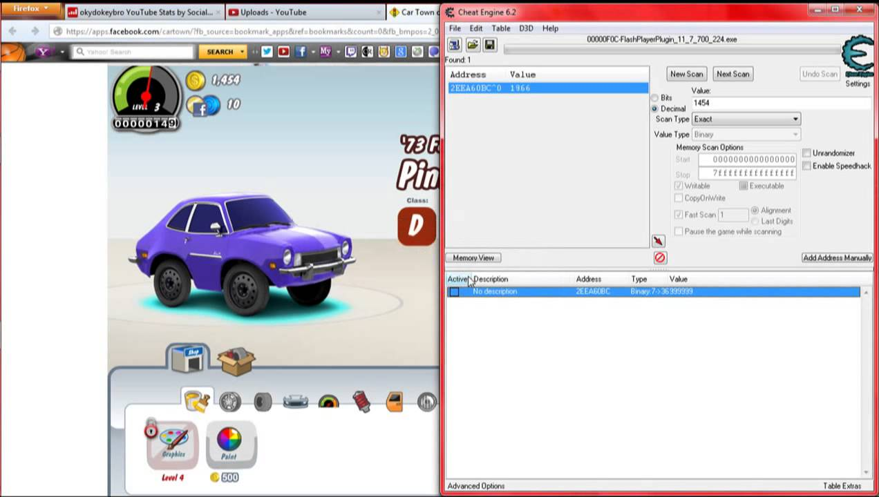 How to hack mod car town on facebook with cheat engine 6 2