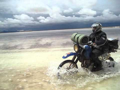 Honda Africa Twin & Suzuki DR650 on the Bolivian Salt flats.