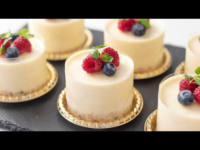 バニラ・レアチーズケーキの作り方 No-Bake Vanilla Cheesecake|HidaMari Cooking