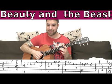 Fingerstyle Tutorial: Beauty and the Beast - Guitar Lesson w/ TAB