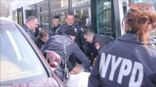NYPD Rush Bus And Arrest Man With Knife On J E.24 St