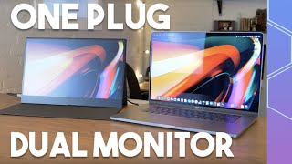 Epic one-cable dual monitor setup for MacBooks!