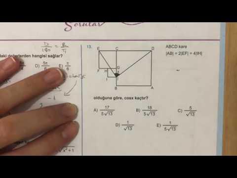 345 AYT Matematik Trigonometri-II Test-2 Anlatımlı Çözümleri (2018-2019 basım)