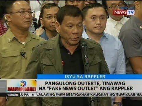 """BT: Pang. Duterte, tinawag na """"fake news outlet"""" ang Rappler"""