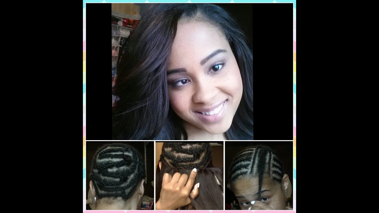 Sew in Weave Hair Extensions Braid Pattern  Install Protective Hairstyle Bob Weave Part 1  YouTube