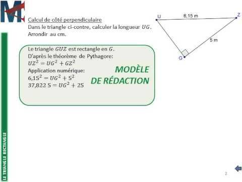 4ème - LE TRIANGLE RECTANGLE - Théorème de Pythagore, Calcul de côté perpendiculaire - YouTube